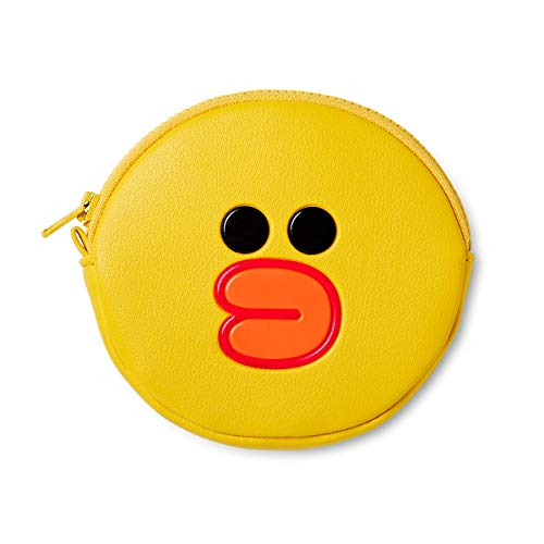 (Line Friends Coin Purse Wallet - SALLY Character Design Small Faux Leather Money Holder Pouch for Women, Yellow)