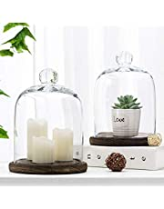 MyGift Clear Glass Jar Cloche Dome Display Case with Brown Wood Base, Set of 2
