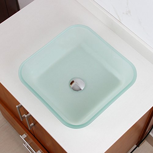 - Elite 1502 Frosted Square Tempered Glass Bathroom Vessel Sink