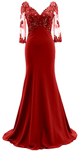 Bride Sleeves Macloth 3 Neck Evening Mother 4 Lace Dress Of Gown The Illusion Red V 47qEqwWH