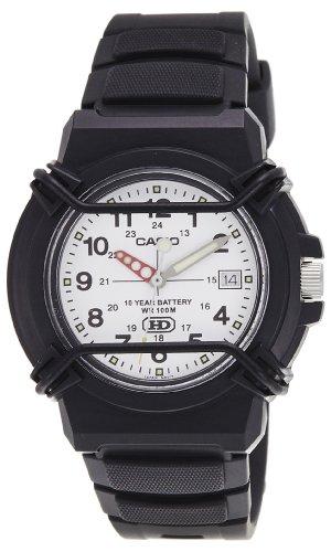 Dial Resin Quartz Movement (Casio Men's HDA600B-7BV Black Resin Quartz Watch with White Dial)