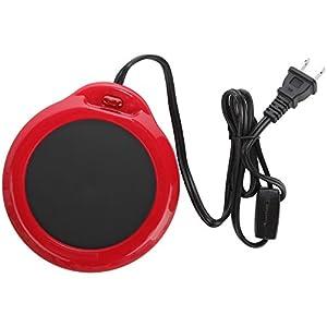 Home-X Mug Warmer, Desktop Heated Coffee & Tea - Candle & Wax Warmer (Red)