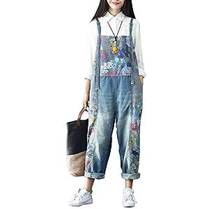 Aeneontrue Women's New Casual Denim Bib Overalls Drop Crotch Wide Leg Pants Jumpsuits Rompers Floral Print