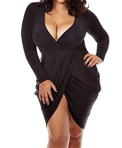 POSESHE Womens Plus Size Deep V Neck Bodycon Wrap Dress With Front Slit XXL Black (Long Sleeve Wrap Front Dress)