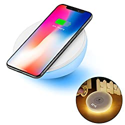 Wireless QI Charger, Night Light Alarm Clock, Accmor 10W Fast Wireless Table Charging Stand with Dimmable Warm White Light & Color Changing for Samsung Galaxy S8/ S8Plus, iphone 8/ 8Plus, iphone X