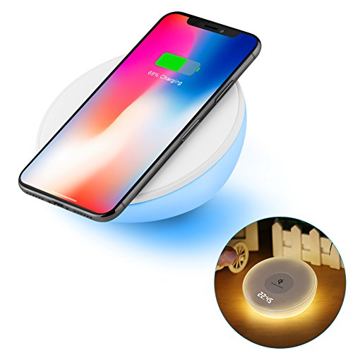 Wireless QI Charger, Night Light Alarm Clock, Accmor 10W Fast Wireless Table Charging Stand with Dimmable Warm White Light & Color Changing for Samsung Galaxy S8/ S8 Plus,iphone X/ 8 Plus