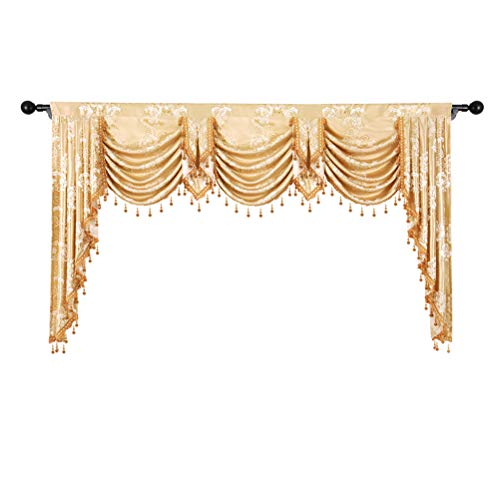 - elkca Golden Jacquard Swag Waterfall Valance for Living Room Floral Curtain Valance for Bedroom (Floral-Golden, W98 Inch, 1 Panel)