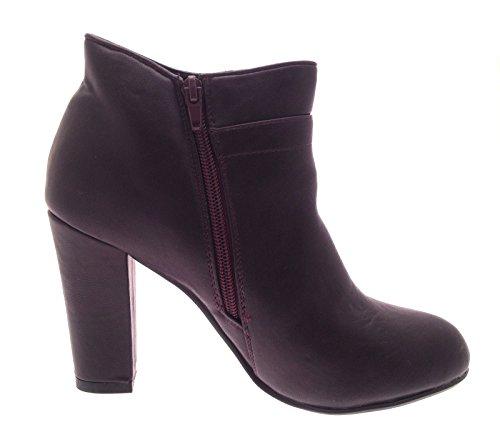 tacón sintética Tamaño para de 8 Botas ocultas niñas y Plataformas 3 Zapatos para tobillo piel alto Unido Reino Borgoña con mujer YZwIq