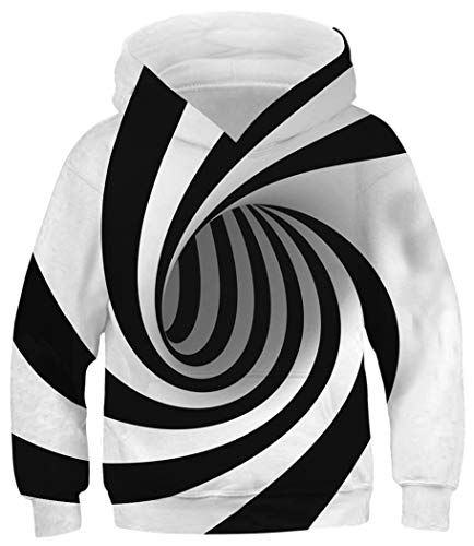 HaniLav Unisex Child Hoodie 3D Print Casual Novelty Pullover Hooded Sweatshirt,Black White Stripe,8-11Y