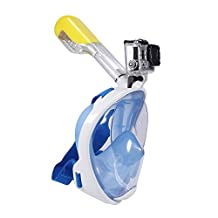 LeaningTech LTC-S1 180° View Snorkel Mask, Full Face Diving Mask set, Surface Scuba, for Gopro, Adults and Youth, Free Breathing Design, Snorkeling with Anti-fog & Anti-leak, Prevent Gag Reflex with Tubeless, Size S/M, Blue