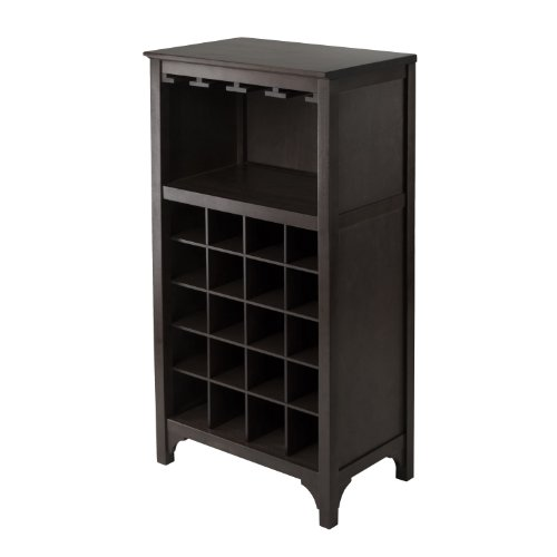 Winsome Ancona Wine Cabinet with Glass Rack