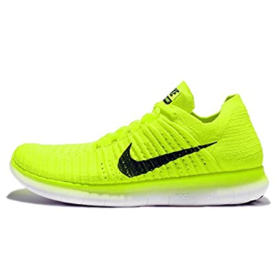 Nike Men's Free RN Flyknit MS, VOLT/BLACK-WHITE, 15 M US