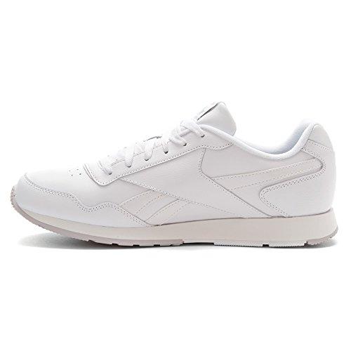 Reebok Mens Royal Glide Fashion Sneaker Bianco / Acciaio / Reebok Reale