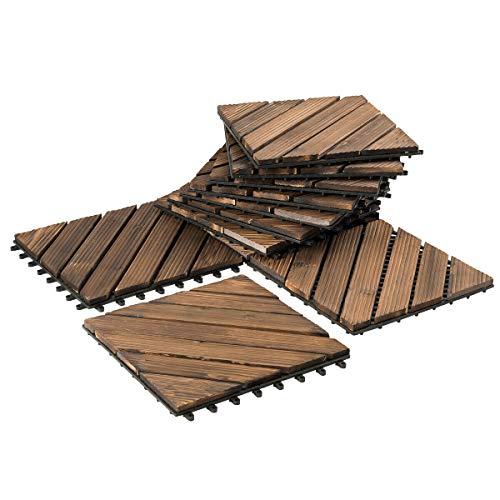 NanaPluz 12″x12″ 11Pcs Interlocking Floor Tiles Stripe Diagonal Patio Pavers Wood Deck Tiles – Brown with Ebook
