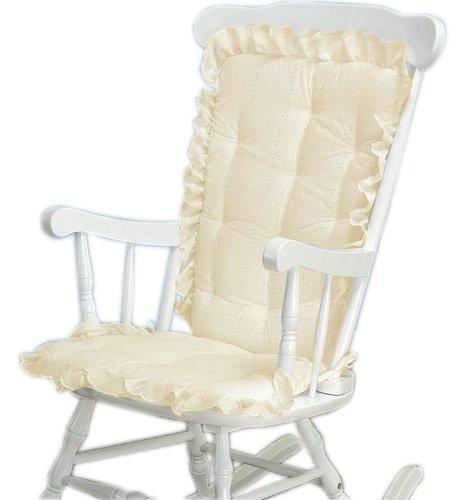 Baby Doll Bedding Carnation Eyelet Adult Rocking Chair Cushion Pad Set, Ecru - Ecru Infant Rocker