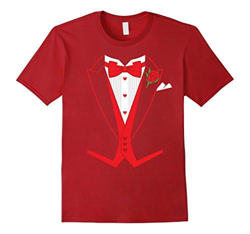 Mens Valentine's Day Costume Red Bow Tie Tailcoat Tuxedo T-Shirt XL Cranberry