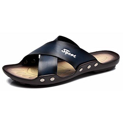 Pinuo 2016 Nya Mens Lädersandals Andas Tillfälliga Sandaler Tofflor Blå