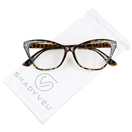 ae9871d14f630 ShadyVEU - Women s Sophisticated Cat Eye Sexy Sleek Clear Lens Rx  Prescription Frame Eye Glasses (