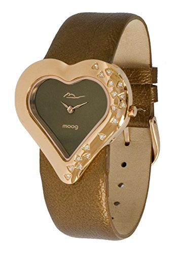 Moog Paris Heart Women's Watch with Chocolate Mirror Dial, Brown Genuine Leather Strap & Swarovski Elements - ()