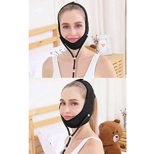 とらえどころのない悪化するカルシウムは二重あご、膨脹可能な顔の持ち上がる革紐、顔の持ち上がる包帯、減らされた二重あごの包帯(1つのサイズはすべてに合う)(色:ピンク)を効果的に改善する,ブラック