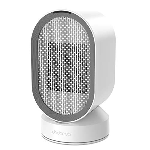 dodocool Small UL Listed, Ceramic Electric, Personal Mini Desk 45 Oscillating Hot Cool PTC Space Heater with Auto Shut Off for Home and Indoor Use, White