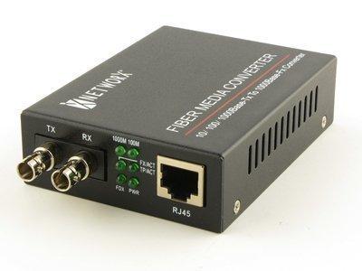 Gigabit Ethernet Fiber Media Converter - UTP to 1000Base-LX - ST Multimode, 550m, 1300/1310nm by Networx