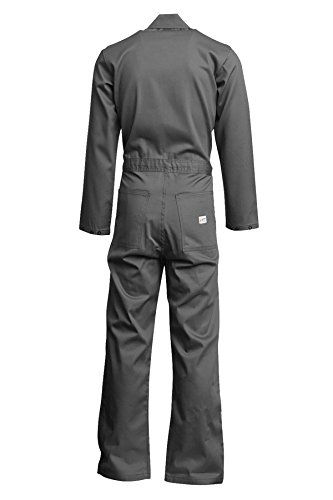 Lapco FR CVEFR7GY-LAR RG Flame Resistant Economy Coveralls, 100% Cotton Twill with Moisture Management, HRC 2, NFPA 70E, 7 oz, Large Regular, Gray