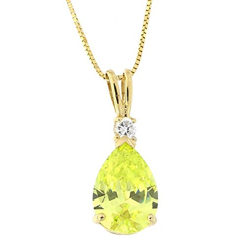 (14k Yellow Gold Pear Cut Simulated Peridot and Cubic Zirconia Pendant Necklace, 13