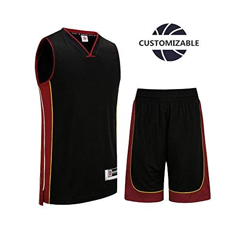SANHENG Customizable Basketball Uniform V collar Jersey and Shorts Trainning Tank Top Set No Pockets …