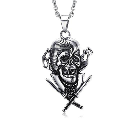 Vnox Bijoux en acier inoxydable gothique de pirate pour hommes collier pendentif crâne épée,chaîne gratuite,Silver Black