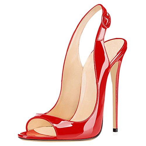 Col Classiche Classici 120MM Peep Scarpe da Sandali Scarpe Scarpe Donna Rosso Sandali uBeauty Col Tacco Sandali Toe Tacco awtY8xqff