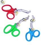 G.S 3 PCS (RED & GREEN & SKY BLUE) PARAMEDIC UTILITY BANDAGE TRAUMA EMT EMS SHEARS SCISSORS 7.25 INCH STAINLESS STEEL