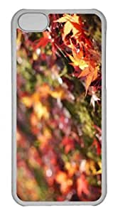 Customized iphone 5C PC Transparent Case - Fallen Maple Leaves Personalized Cover