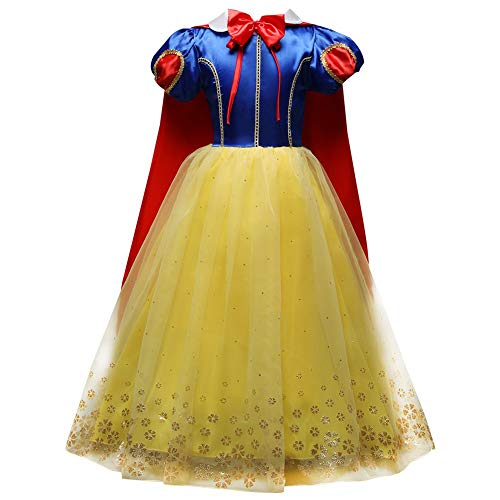 Girls' Princess Snow White Costume Fancy Dresses Up with Long Cape for Christmas Party 130