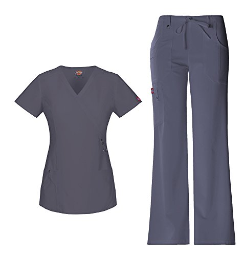 Scrubs Flare Pants Dickies (Dickies Xtreme Stretch Women's Mock Wrap Scrub Top 85956 Extreme Stretch Drawstring Scrub Pant 82011 Scrub Set (Pewter - Medium))