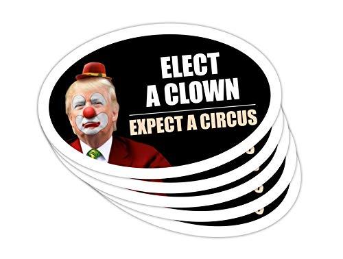 StickerPirate 5 PackOval Car Magnet Trump 2020 Elect A Clown Expect A Circus Dump Trump TO414