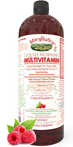 Morning Liquid Vitamins by MaryRuth (Raspberry) Vegan Multivitamin A B C D3 E Trace Minerals & Amino Acids for Energy, Hair, Skin & Nails for Men & Women | Paleo | Gluten Free | 0 Sugar | 0 Fat | 32oz