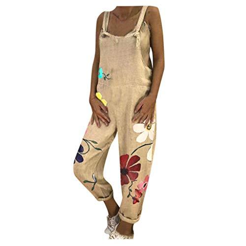 Fhuulyy Combinaison Femme Imprimée Fleur Salopette Femme Sans Manches Décontracté Denim Combinaison Pantalon avec Poches (Jaune, XL)
