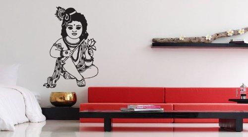 Room wall vinyl sticker decal mural design art hindu girl culture of india queen god with lotus krishna baby krishna 957 by stickersforlife amazon co uk