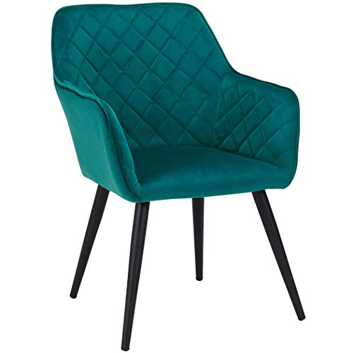 - Duhome Dining Chairs,Contemporary Accent Chairs Single Sofa Velvet Fabric Cushion Seat Metal Legs Rack Support Middle-Back Soft Back Chairs for Living Room Home Office Cafe Restaurant Green