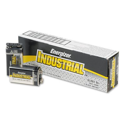 Industrial Alkaline Batteries, 9V, 12/Box, Total 72 EA, Sold as 1 Carton by Energizer