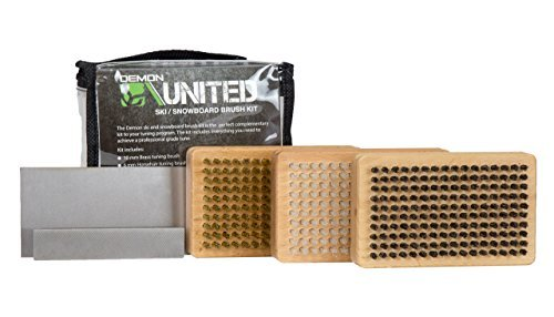 Demon United Ski/Snowboard Wax Brush Kit - Bonus Includes Metal Scraper and Edge File