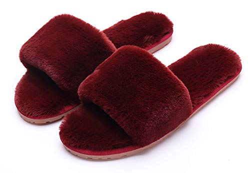 Women's Fuzzy Fluffy Furry Fur Slippers Flip Flop Open Toe Cozy House Memory Foam Sandals Slides Soft Flat Comfy Anti-Slip Spa Indoor Outdoor Slip on (04/Wine Red, 6-7 N US) ()