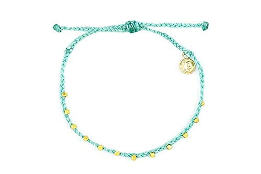 Pura Vida Gold Stitched Beaded Seafoam Anklet - Wax Coated String, Adjustable Band