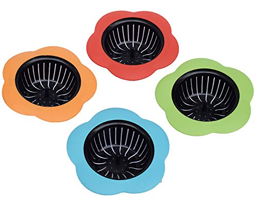 Silicone Kitchen Sink Strainer 4 Pack, Pouring strainers,Drain FilterLarge Wide Rim 4.5