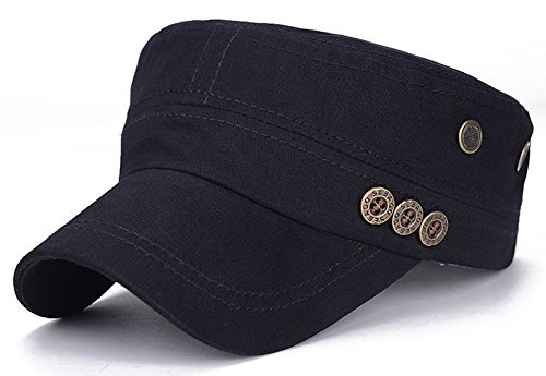 Embroidered Cadet Hat - ChezAbbey Fashionable Cadet Style Hat Solid Brim Adjustable Military Radar Cap Peaked Cap with Beads Embroidered Black