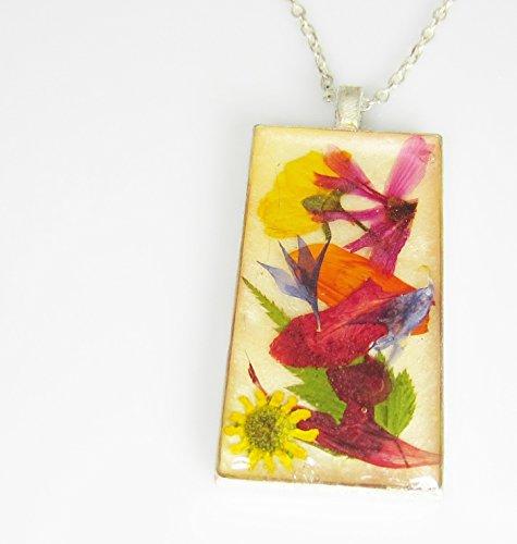 Funky Floral Fantasy, Real Flower Pendant, Pressed Flower Necklace, Real Flower Jewelry, Flower Collage, Resin (az1858) ()