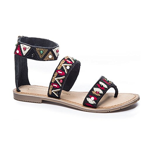 Chinese Laundry Phoebe Leather Flat Sandals in Black Size...
