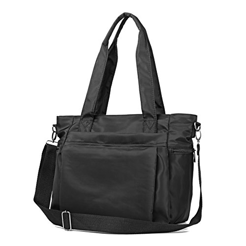 ZORESS Women Fashion Large Tote Shoulder Handbag Waterproof Multi-function Nylon Travel Messenger Bags (Black)