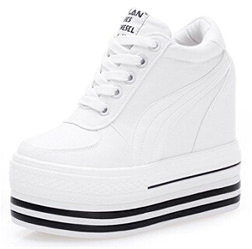 MRxcff Sneakers Women High Heels Autumn canvas Casual Wedge Shoes Women Height Increasing Platform Shoes white 7.5